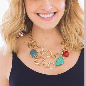 CHICO'S NYSSA SHORT MULTI STRAND NECKLACE GOLD RED